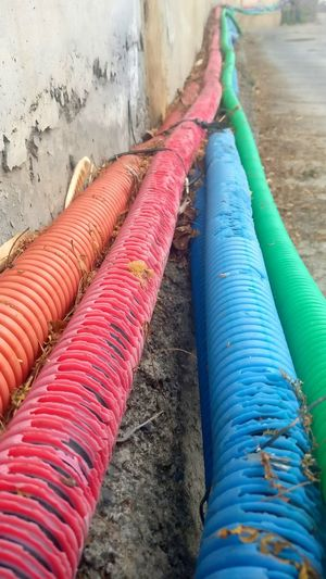 Water Water Pipes Pipelines Colors Colorful City Close-up Plastic Bag Environment Mobilephotography Town Outdoors Day No People