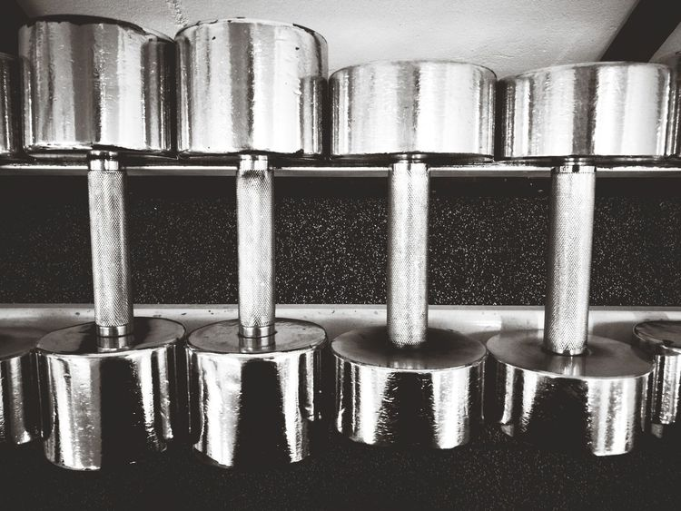 Indoors  Metal In A Row Close-up No People Dumbbells GymLife Gym Gym Time Gym Life Blackandwhite In Order