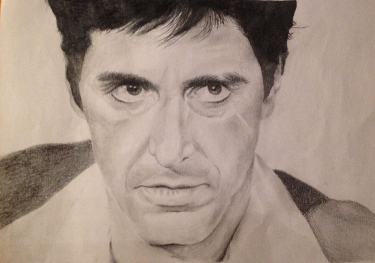 Alpacino Scarface Graffite Blackandgray Blackandgrey Realisticdrawing Realistic Draw Drawing