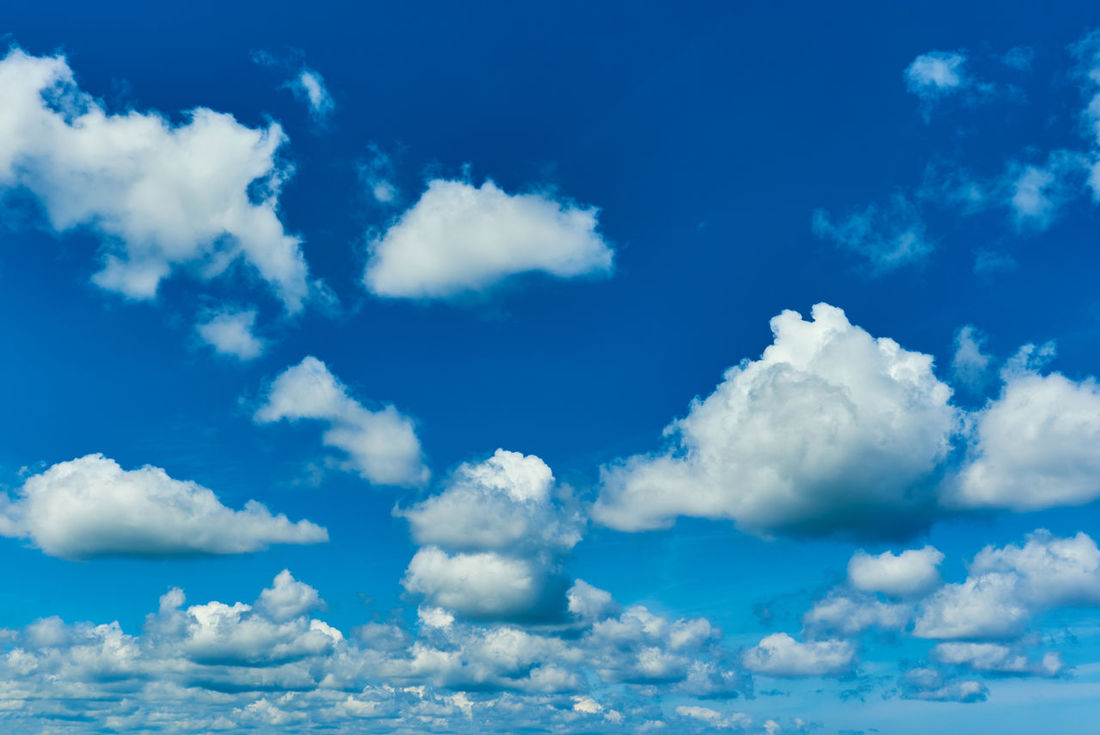 Blue sky with fluffy clouds, sunny day Air Beauty In Nature Blue Blue Sky Bright Colors Cloud - Sky Cloudy Fluffy Clouds Heavens Idyllic Landscape Nature Nature Background No People Scenery Scenics Serenity Sky Summer Summertime Sunlight Sunlight Sunny Day Sunshine View