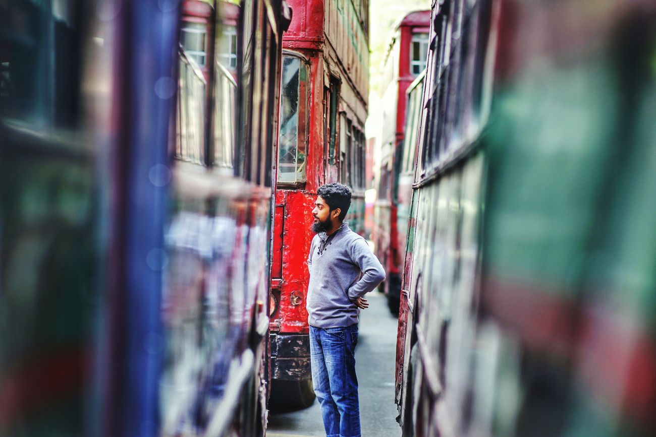 Multi Colored One Person Low Angle View Bangladesh Diaries Color Photography Urban Portrait Urban Land Vehicle Public Transportation Beard Outdoors The City Light