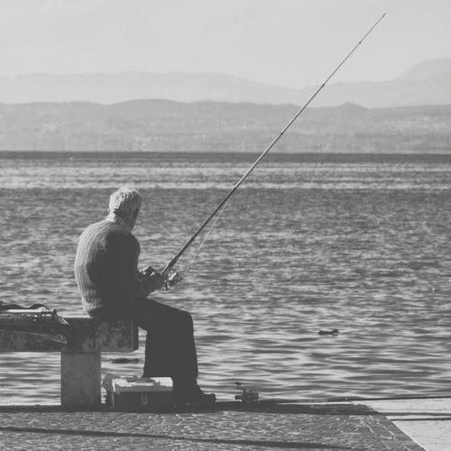 der alte mann und das meer... The Storyteller - 2014 Eyeem Awards Lago Di Garda Fishing Sea