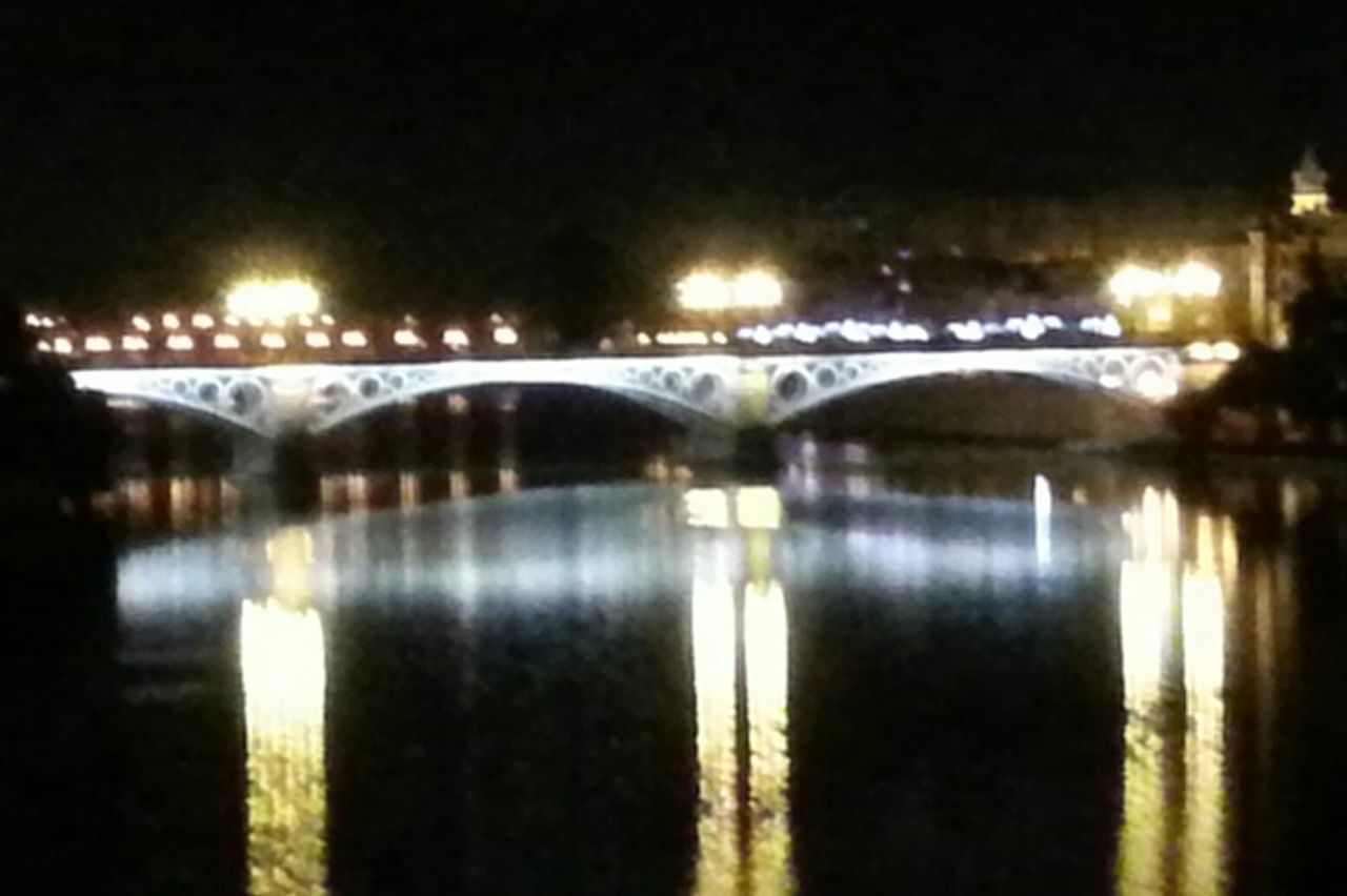 illuminated, night, reflection, water, waterfront, bridge - man made structure, outdoors, no people, transportation, nature, beauty in nature