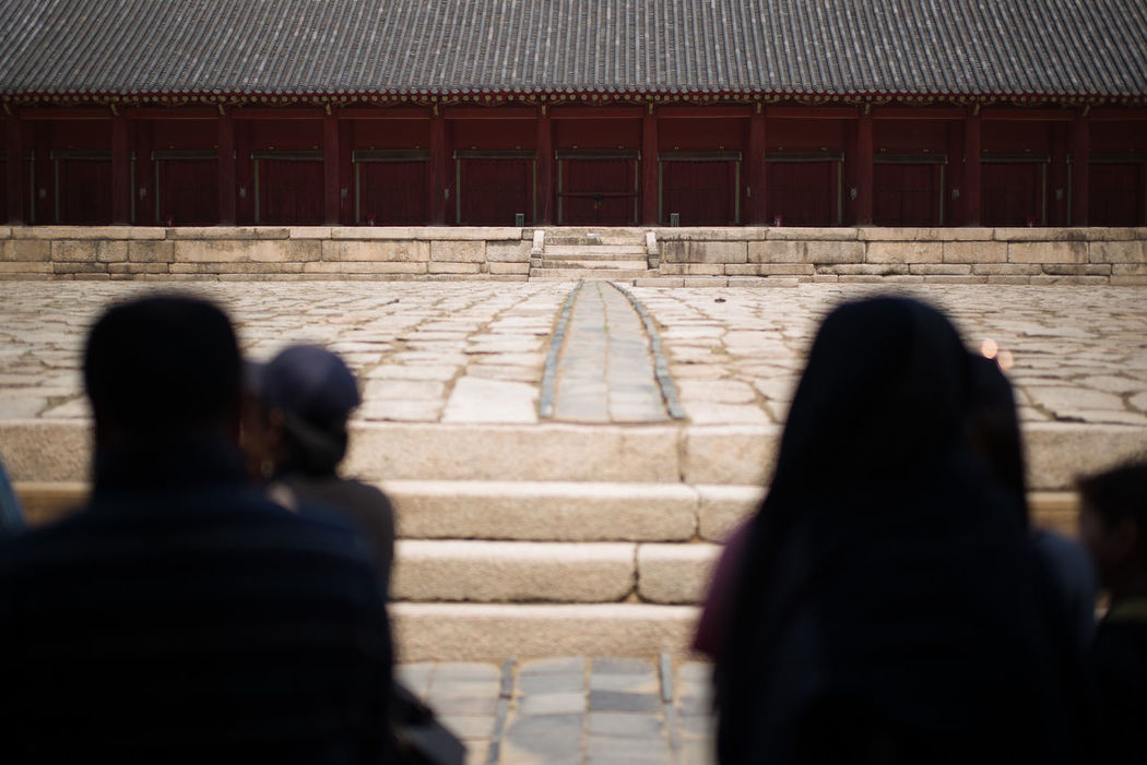 Seoul Architecture Building Funerary Historic Jongmyo Jongmyo Shrine Korea Korean Monument Pavement People Rear View Red Red Color Seoul Silhouettes Stone