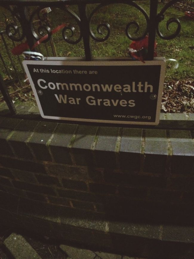War Graves Commonwealth War Hero Cemetery Fence Sign Bedworth Graveyard Warwickshire February