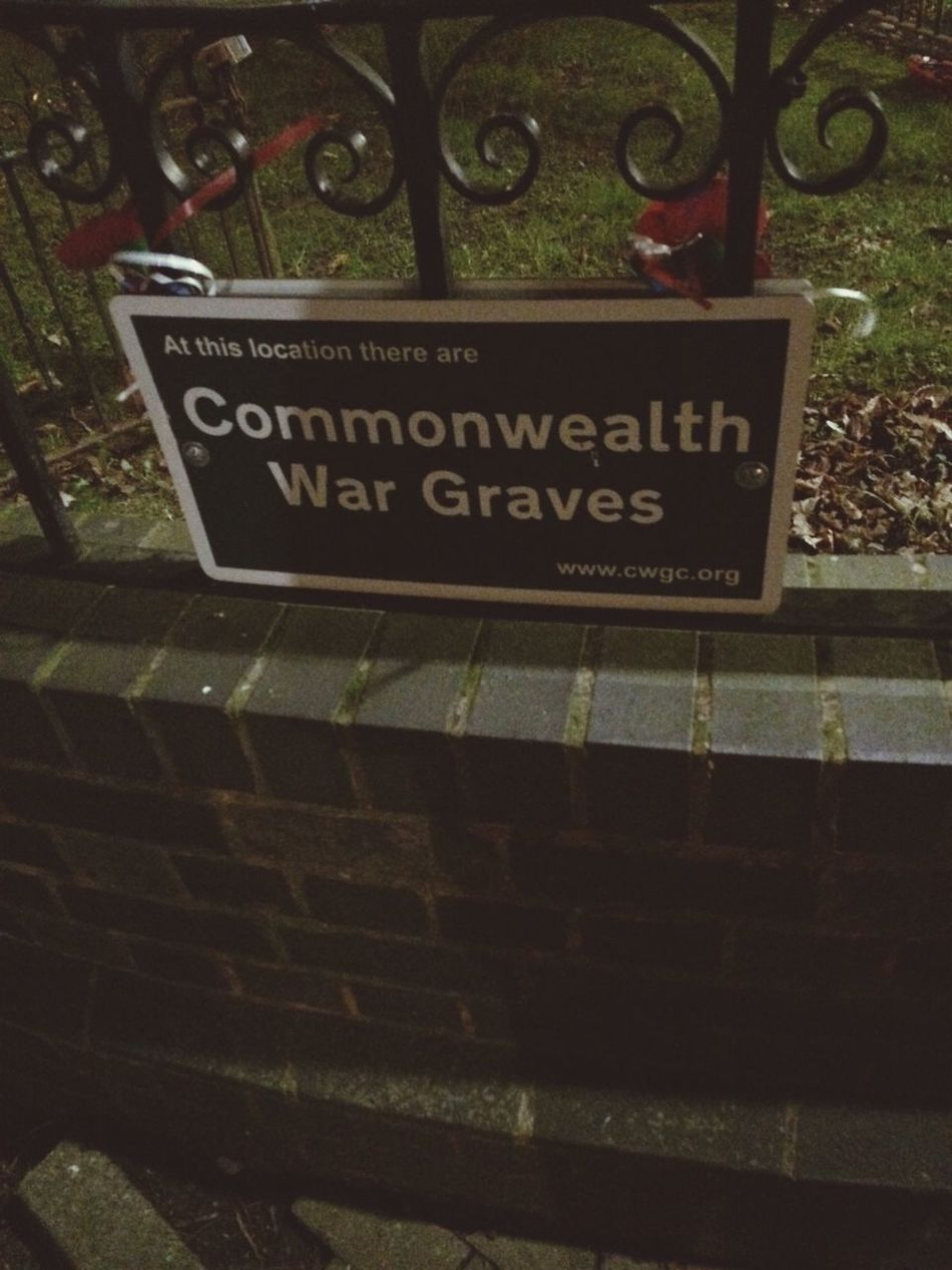 War Graves Commonwealth War Hero Cemetery Fence Sign Bedworth Graveyard Warwickshire February