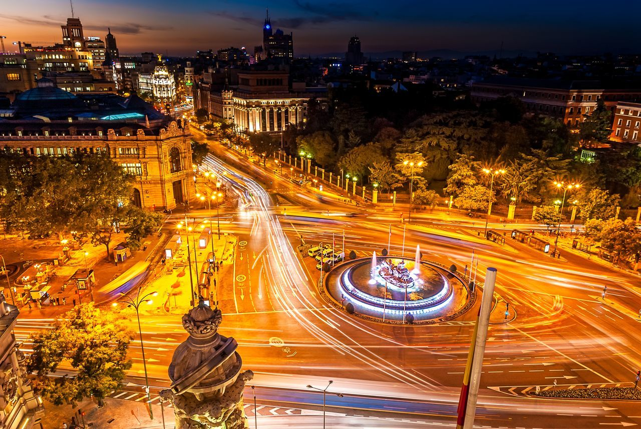 Madrid & Cibeles Architecture Building Exterior Built Structure Cibeles City City Life Cityscape Dusk High Angle View Illuminated Light Trail Long Exposure Madrid Motion Outdoors Road Sky SPAIN Speed Street Light Traffic Transportation Vibrant