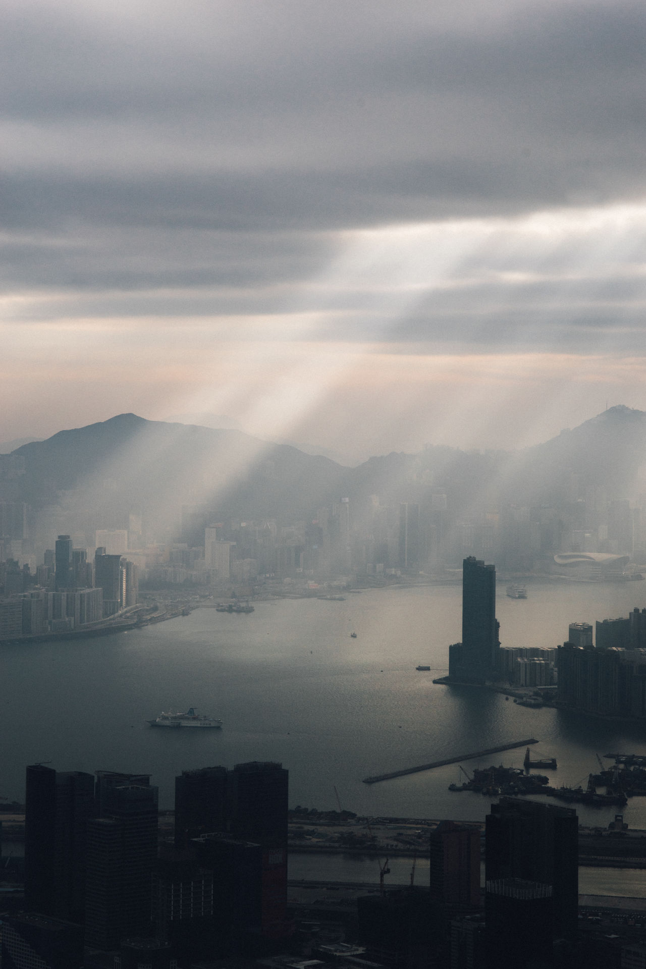 Aerial View Architecture Building Exterior Built Structure City Cityscape Cityscape Cityscapes Cloud - Sky Downtown District Fog Hong Kong HongKong Landscape_Collection Light And Shadow Light Up Your Life Mountain Nature No People Outdoors Scenics Sky Skyscraper Travel Destinations Urban Skyline