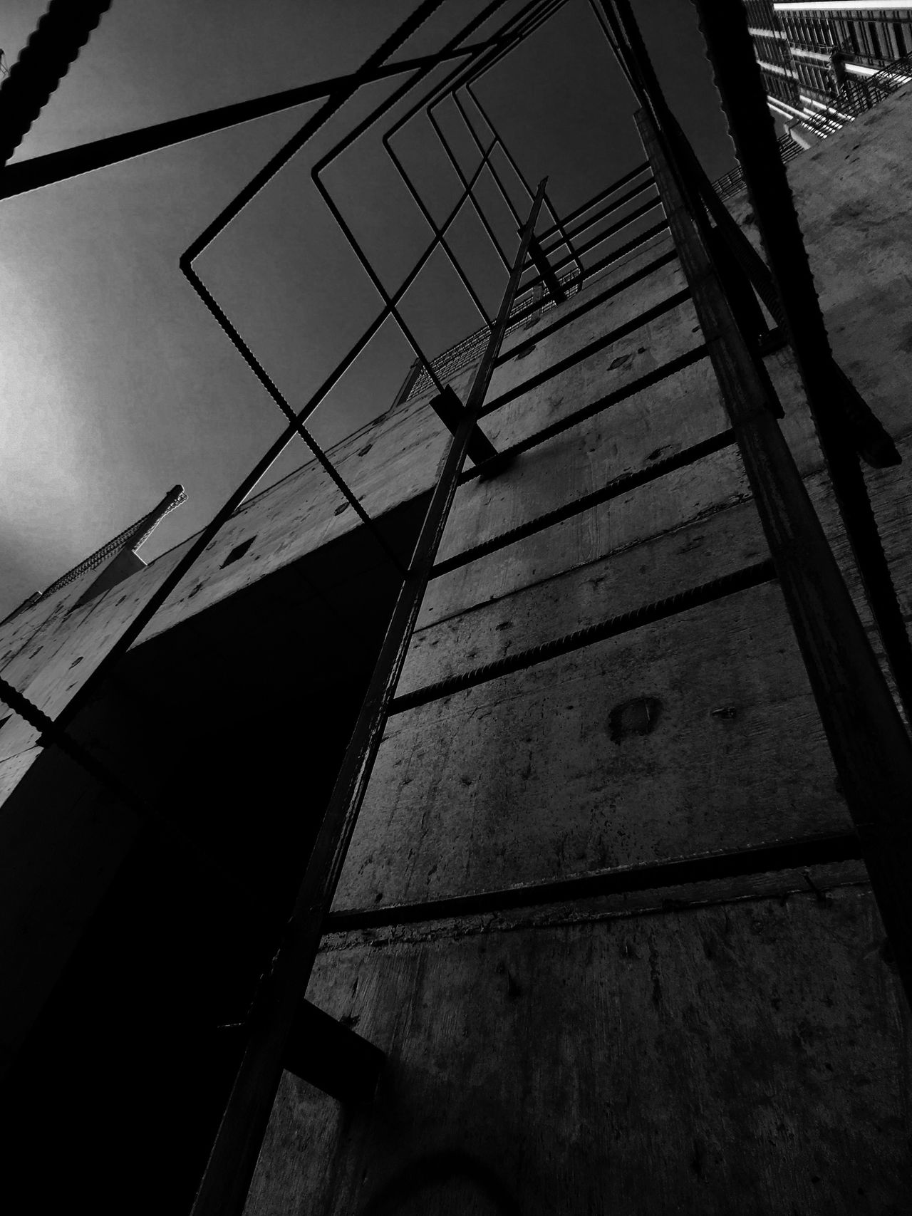 Low Angle View Built Structure Outdoors Concrete Moment Lens Moment Wide Monochrome IPhoneography Light And Shadow Black & White Black And White Silhouette Construction Site Cat Ladder