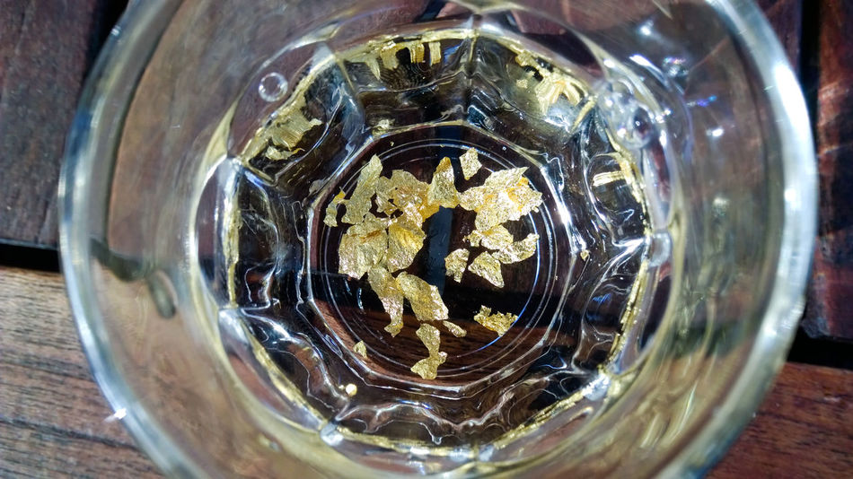 Gold Water Close-up Day Drink Drinks Glass Glass - Material Gold Gold Leaf Gold Water Liqueur No People Water Wood Wood - Material