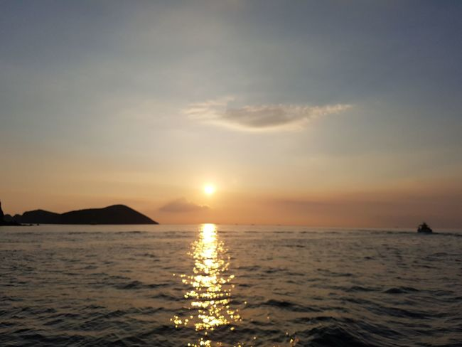 Sunset on the sea Sea Sunset View From Fishing Boat Jeju Island, Korea Chagui-do Fishing Family Trip Summer