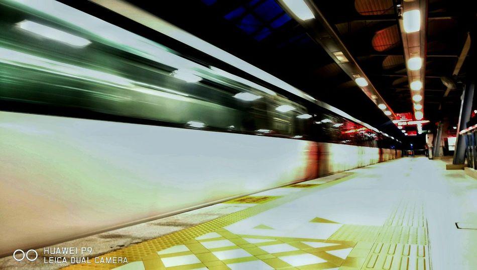 Moving foward Transportation Reflection Railroad Station Platform Light Trails HuaweiP9 Huaweiphotography Leicatechnology Mobilephotography Kuala Lumpur Mobilephographer Huaweimobile Huaweimobilemy