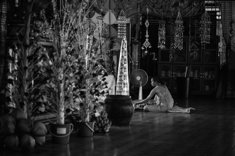 Indoors  Monk  Buddhist Monks Buddhism Temples People Watching People And Places Blackandwhite Way Of Life Sitting People At The Temple Prayer Hall Welcome To Black