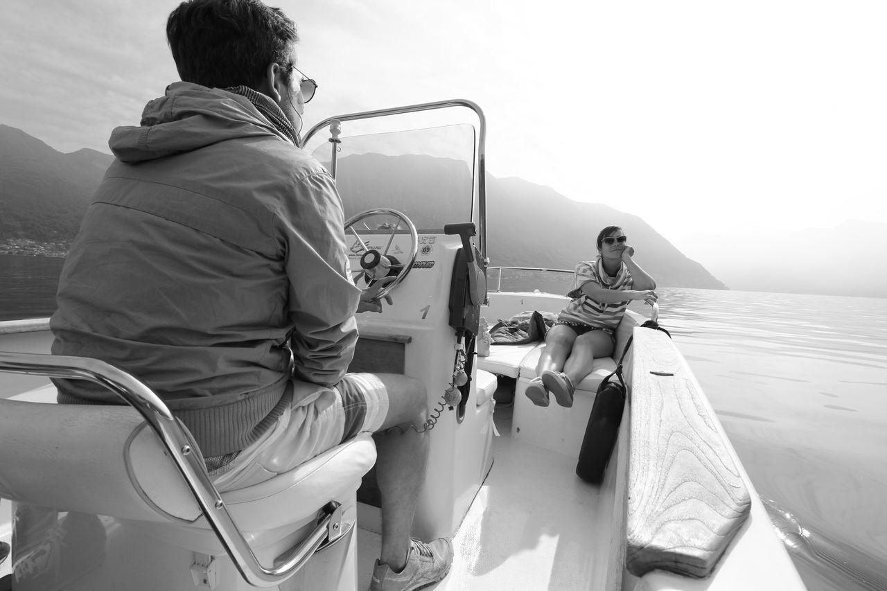 Lago Di Como Blackandwhite Black & White Boat Captain Motorboat Italy Lake Leisure Activity Mermaid Luxury