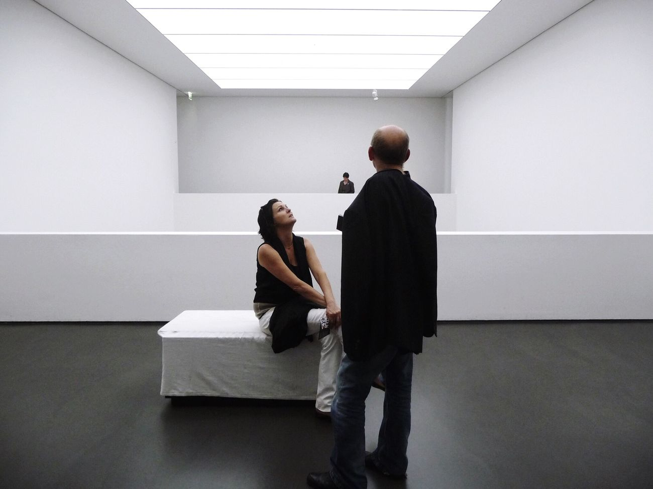 White cube... White Album Architecture Architecture_collection Adults Only Indoors  Men Standing Full Length Togetherness Mature Men Mature Adult Meeting Communication Real People People Cooperation