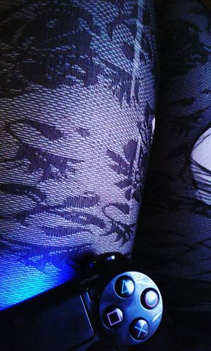 Indoors  Human Body Part Close-up People One Person Day Damaged Blue Color Gametime Stockings Torn Ripped Human Skin Legs Controller Lap Playstation 4 Games Relaxation Funtimes Tights Ripped Open Floral Pattern EyeEmNewHere Second Acts