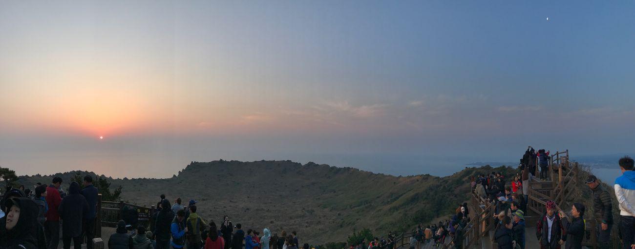 Jeju Island, Korea Seongsan Ilchulbong Peak Sunrise Sun & Moon