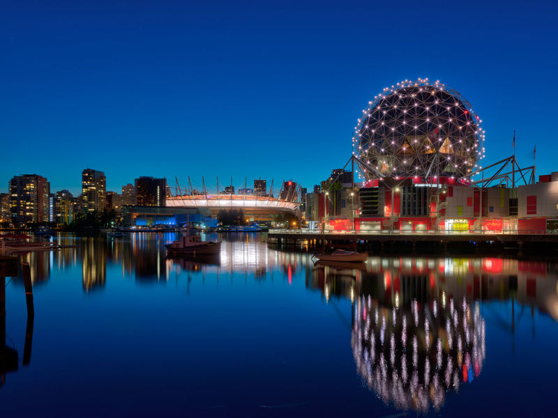 Vancouver - Science World BC Place False Creek Reflection Science World  Vancouver British Columbia Canada Night