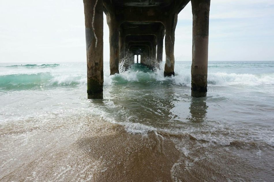 No People Travel Destinations Walking Bridge Blue Pacific Ocean Southern California Beachphotography Boardwalk Symmetry Waves Water_collection Outdoor Photography Wooden Structure Unedited The Secret Spaces