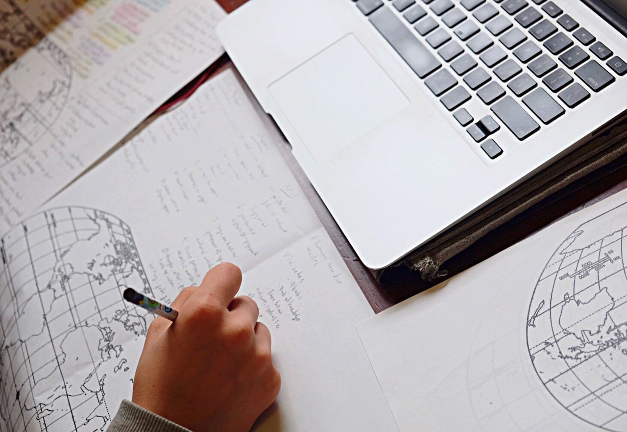 Writing Laptop Wireless Technology Paper High Angle View Working Computer Keyboard Text Copy Space Globe World Writing Writing Instrument Pencil Laptop Keyboard Paperwork