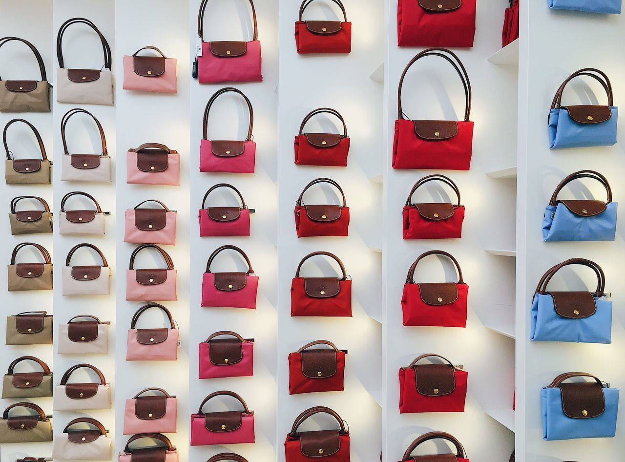 In A Row Consumerism Retail  Variation Choice Red Abundance Large Group Of Objects Arrangement Indoors  No People Day Photography Themes Italy Milan Longchamp longchamp in a row