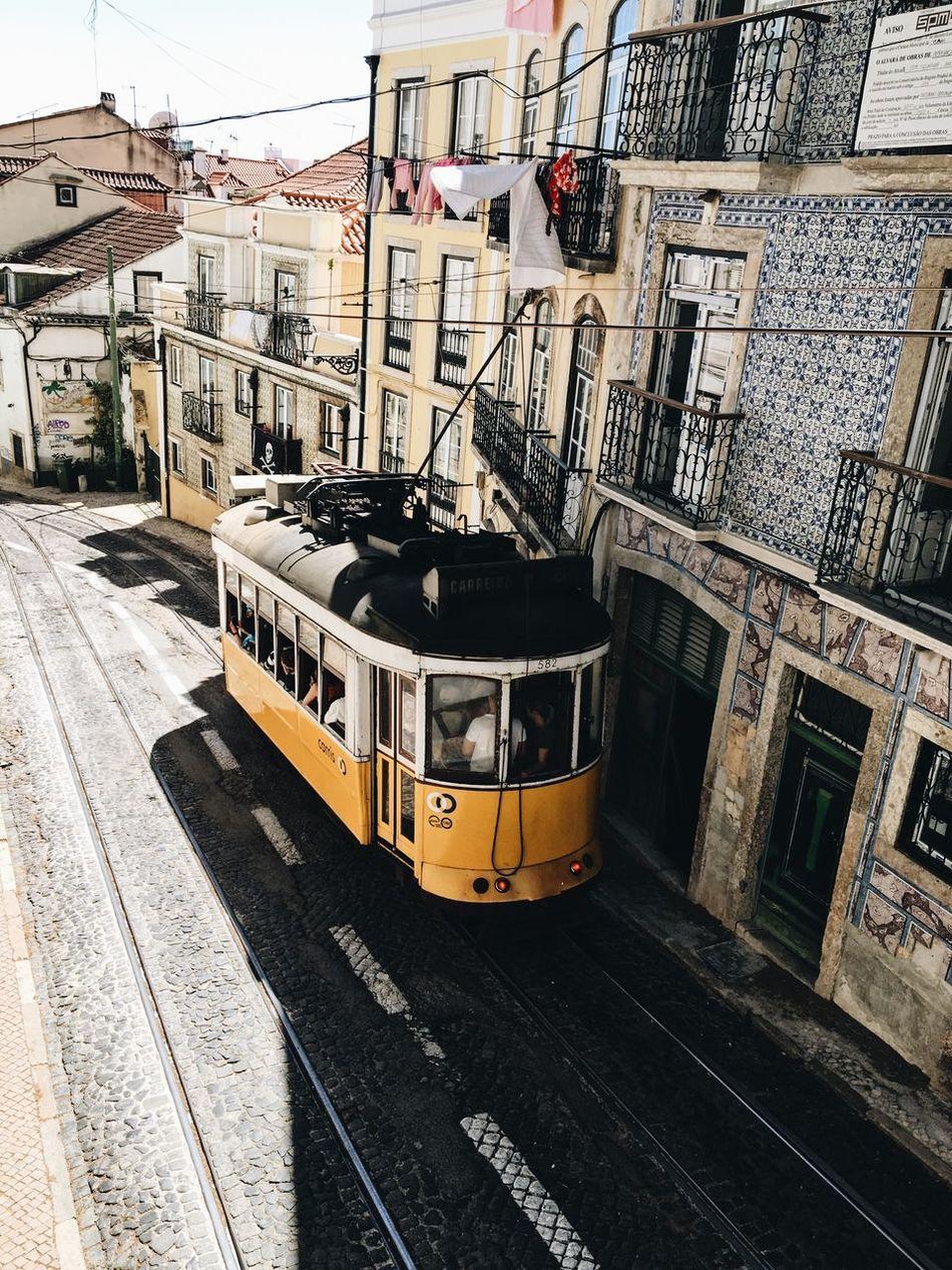 Lisboa Transportation Train - Vehicle Lisbon Lisboa Portugal Lisboa Lisbonlovers Tram Yellow Yellow Tram Europe City City Street City Life Portugal