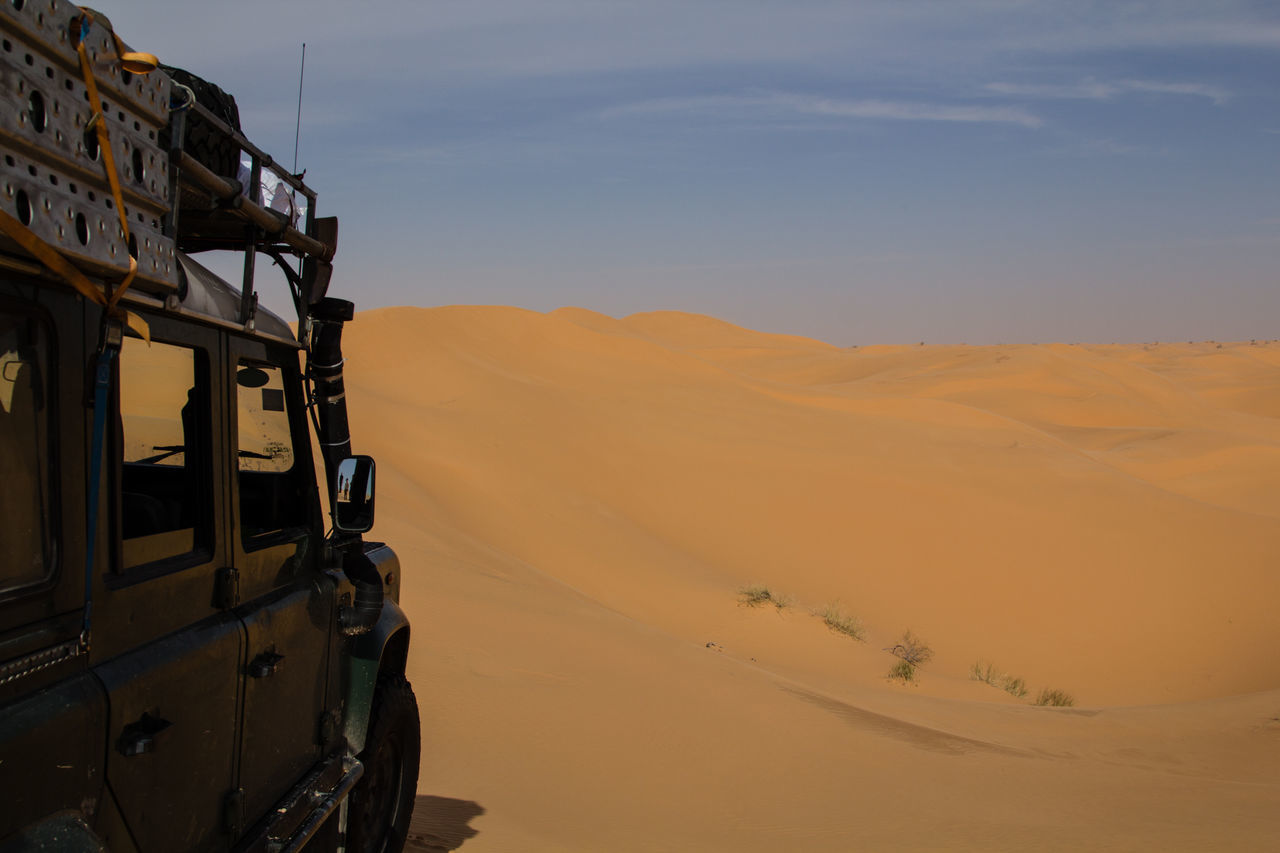 Adventure Adventure Club All Terrain Allterrain Arid Climate Cloud - Sky Desert Desert Landscape Explore Exploring Extreme Terrain Landrover Defender Mode Of Transport Nature Nature Off The Beaten Path Offroad Offroader Offroading Outdoor Remote Sahara Scenics Transportation Tunisia