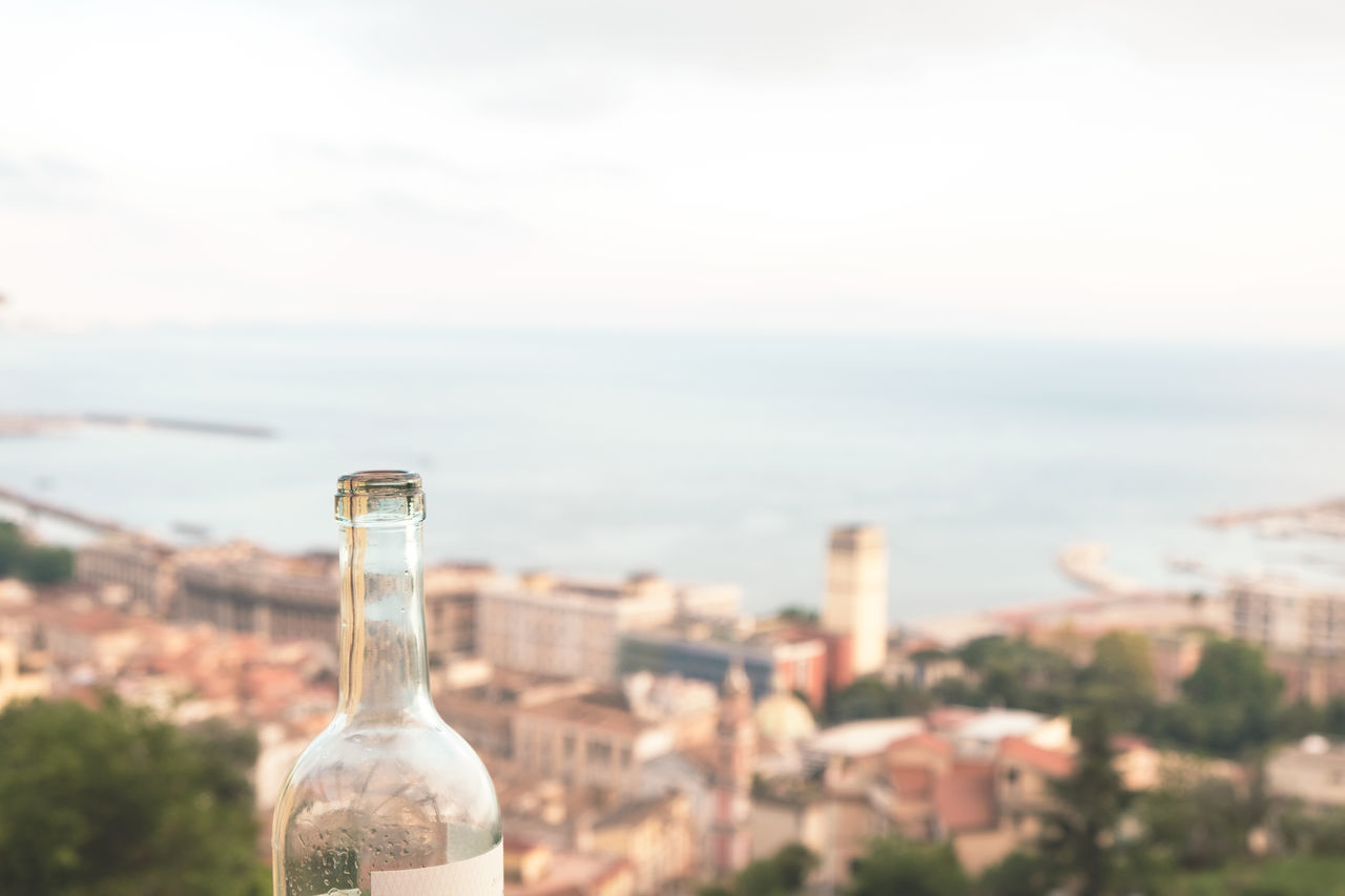 Aerial View Alcohol Architecture Balcony Bottle Building Exterior Cityscape Close-up Day Drink Enjoying The View Enjoyment Focus On Foreground Horizon Over Water Mediterranean Culture Mediterranean Sea Nature No People Outdoors Relaxation Sea Sky Sunny Wine Wine Bottle