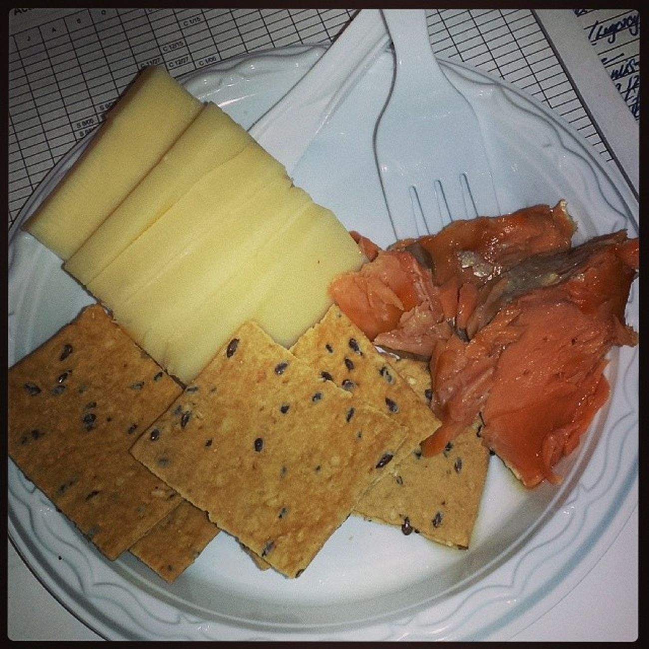 Protein packed breakfast!!! Smokedsalmon Omega3 Fattyacids Wheatcrackers sharpcheddarcheese vermontstyle smallportions frequentmeals lowcalorie lowfat proteinpacked ilovefish yamminfishdatahackeebusiness VybzKartel Business dancehall 2013 HappyHumpDay lash