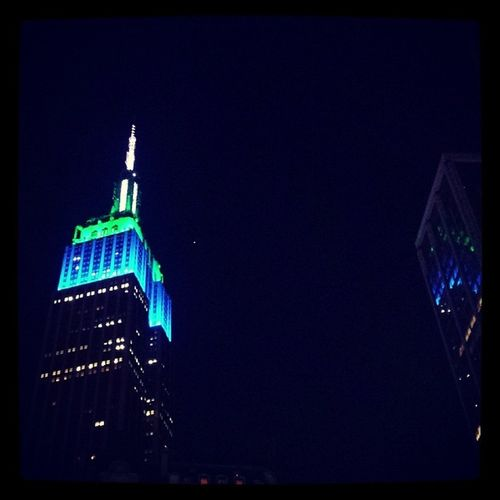 Empire state building throwing up those seahawk colors Empire State Building Seattleseahawks Superbowlblvd