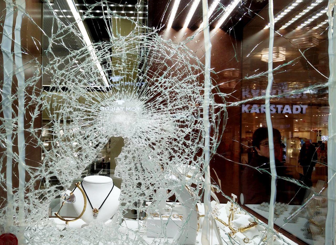 Jeweller's nightmare Broken Glass Breake-in Broken Shop Window Broken Window Burglary Crime Glass Invasion Jeweler Jewelery Jeweller Jewellery Shop Window Theft