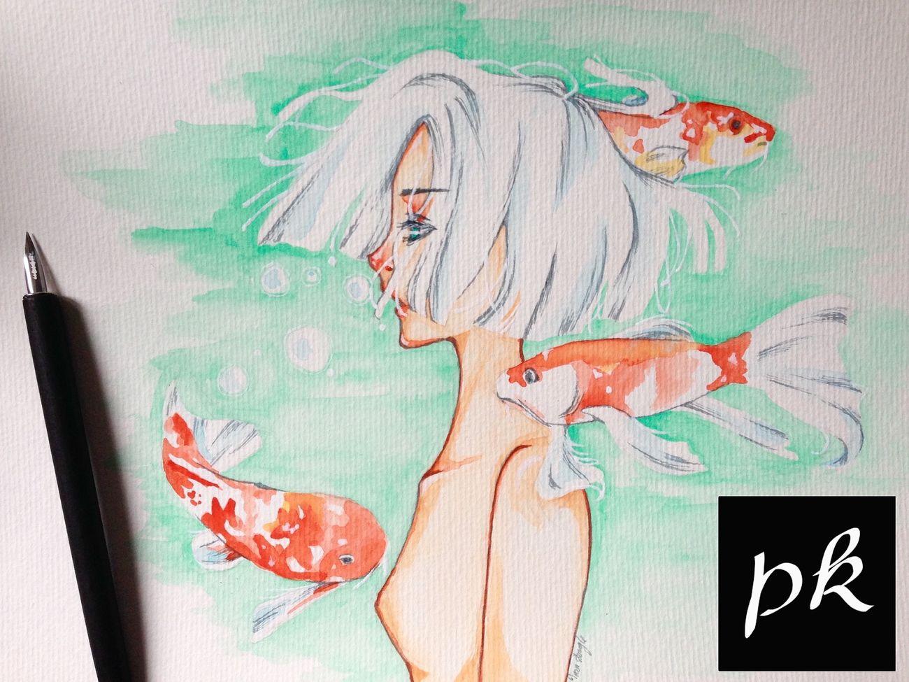 Art My Art Art, Drawing, Creativity Water Koi Fish Girl Watercolor Manga