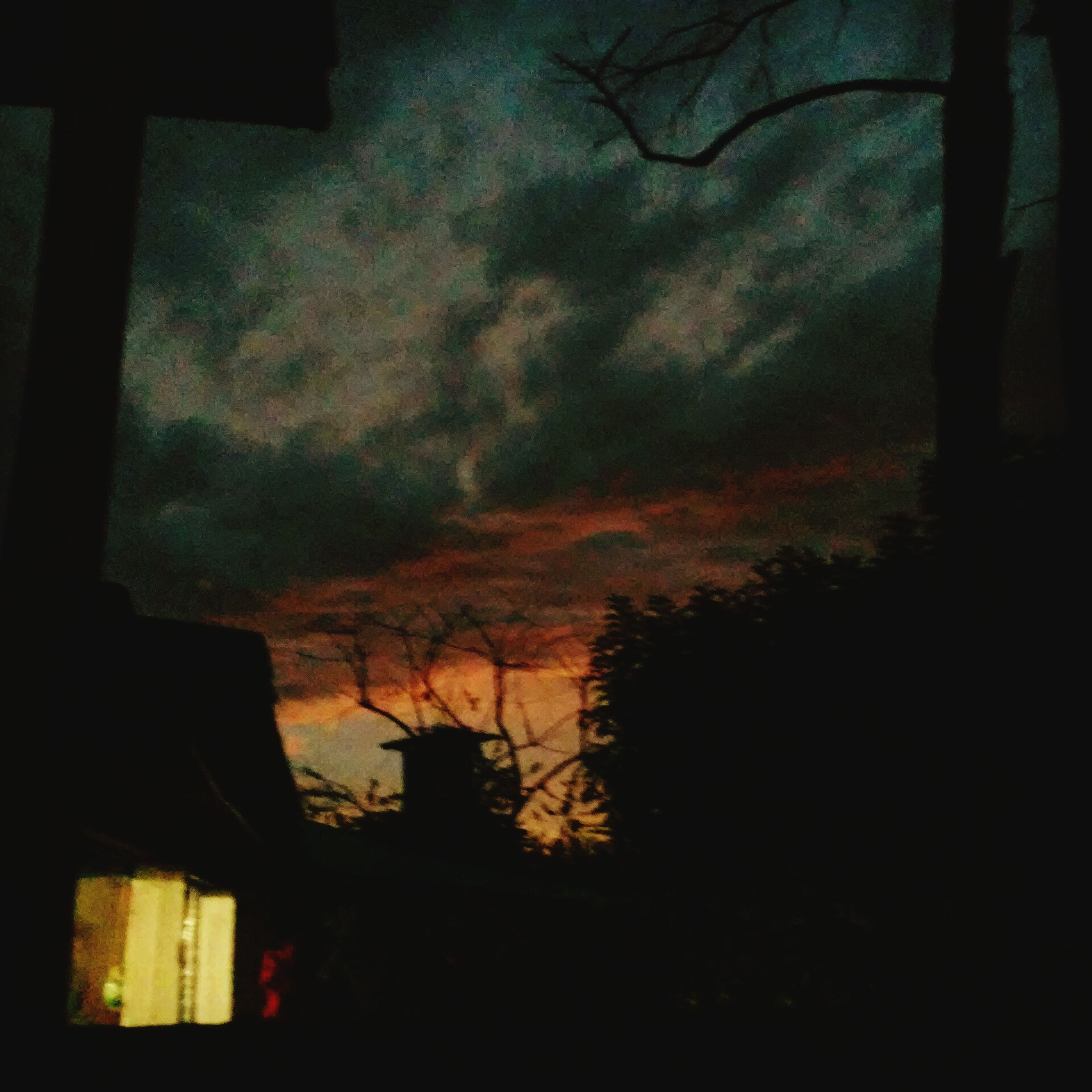 silhouette, sunset, sky, cloud - sky, built structure, tree, dusk, building exterior, architecture, dark, nature, low angle view, cloudy, bare tree, orange color, house, scenics, beauty in nature, tranquility, branch