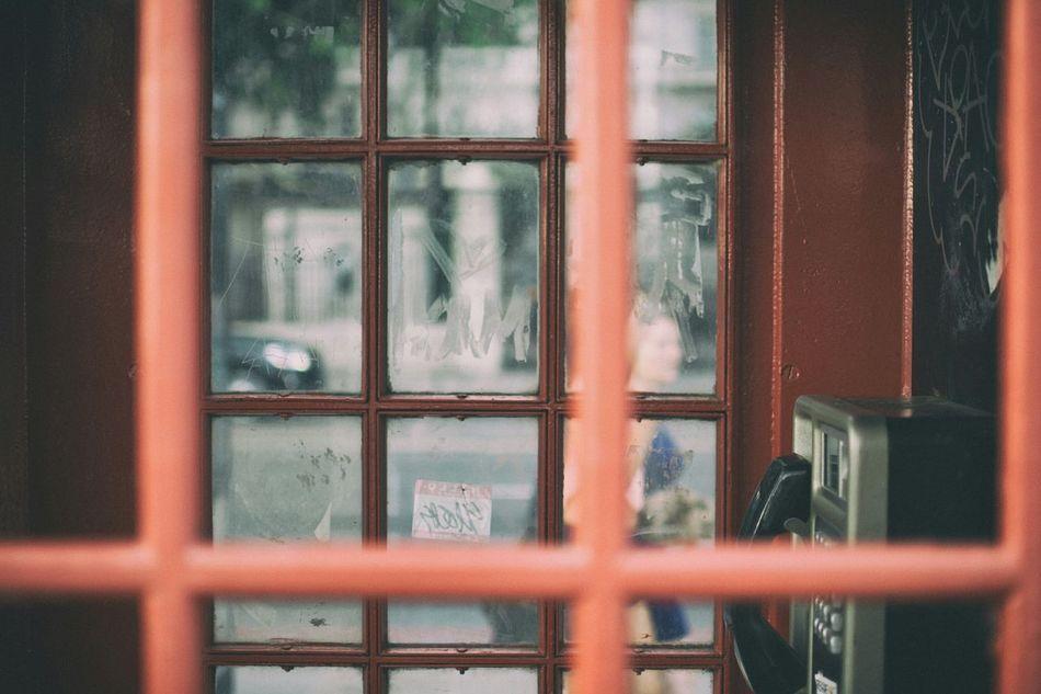 Through the telephone box London Street People City Photogrpher Summer Building Urban Red Window