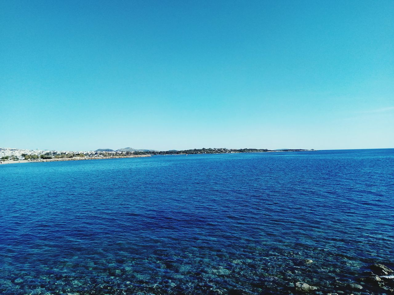 Blue Clear Sky Sea Tranquility Scenics Sky Day Tranquil Scene Water Nature Outdoors No People Beauty In Nature Greece Memories Vacation Time Vacation Destination Greece Photos Travel Destinations Reflection Horizon Over Water