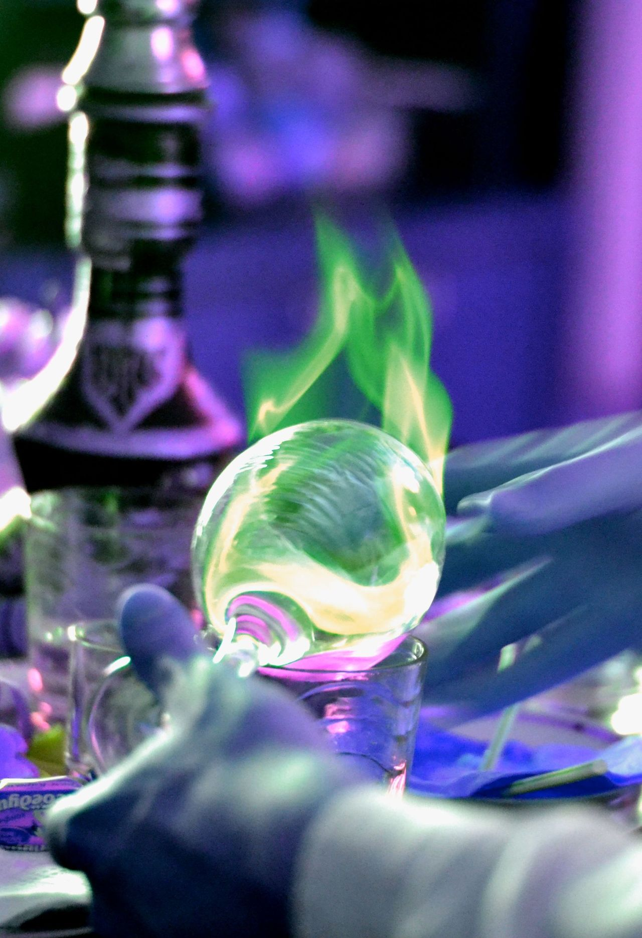 Sambuca Alcohol Glass Flame Green Hand Awsome Love Happiness Emerald Bar Pub Drink Drunk Holiday Summer