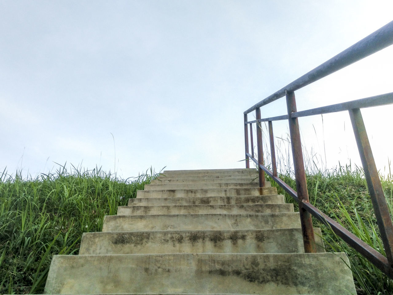Day Low Angle View Outdoors Railing Sky Staircase Staircase To Heaven Staircases Stairway Steps Steps And Staircases