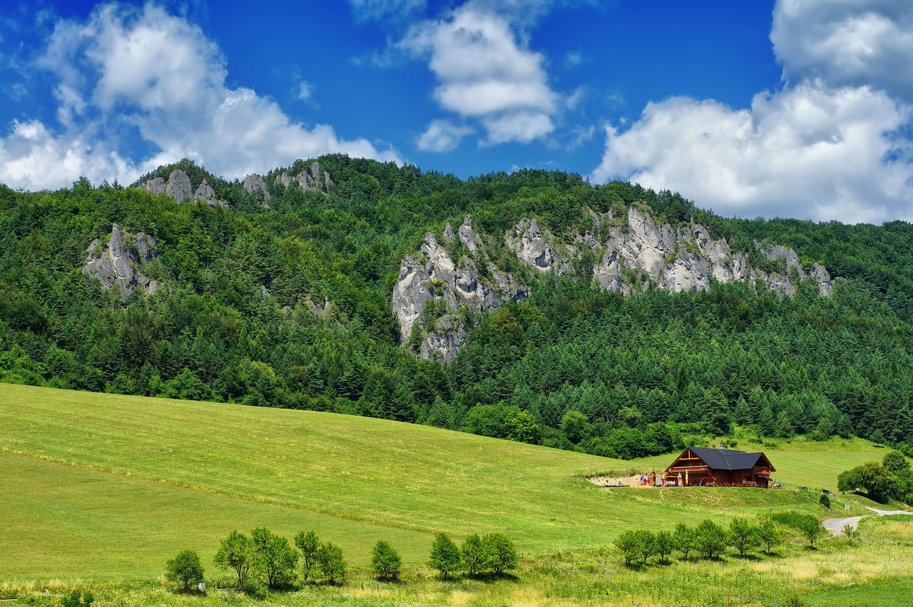 Sulov rocks under the blue sky, Slovakia, Beauty In Nature Chalet Cloud - Sky Day Green Color Landscape Mountain National Park Nature No People Outdoors Rocks Scenics Sky Slovakia Sulov Rocks Sulovske Skaly Taking Photos Travel Destinations Tree