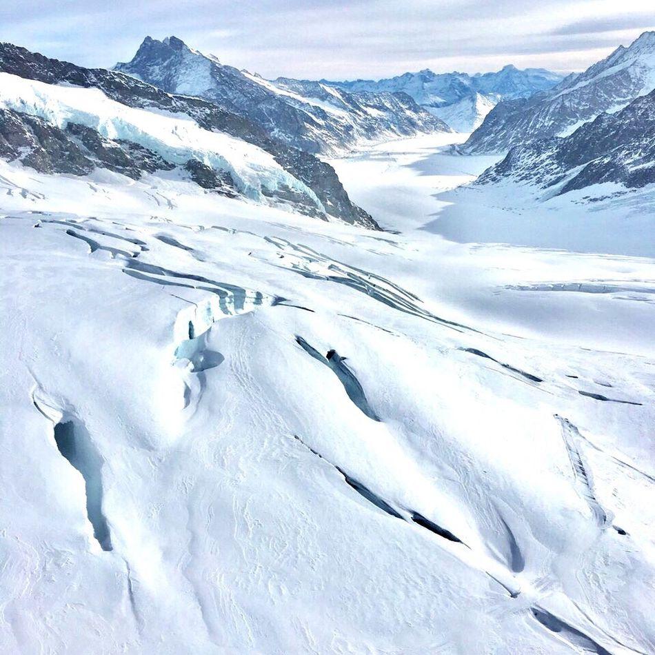 Aletsch glacier - biggest glacier in Alps Glacier Winter Aletsch Jungfrau