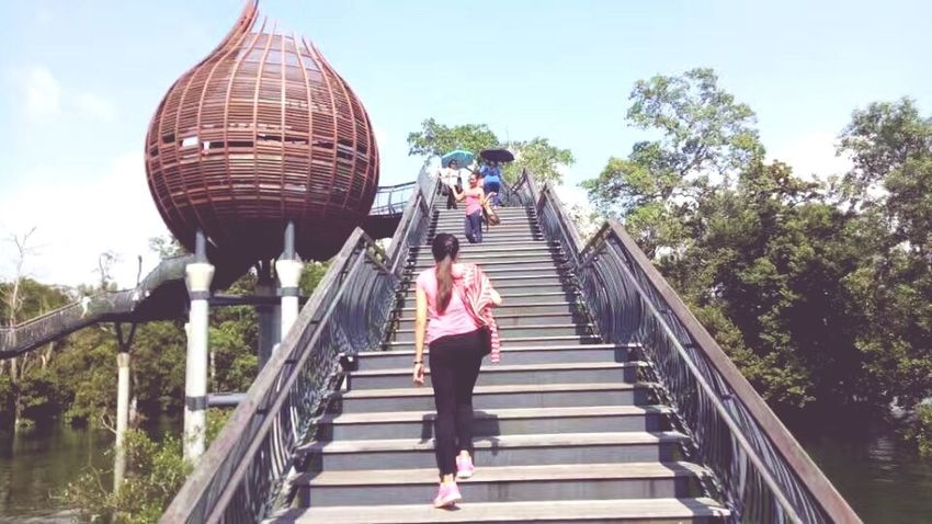 Staircase Steps And Staircases Steps Full Length Railing Two People Adult Adults Only Day Walking Footbridge