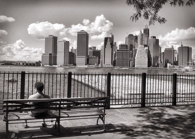 New York New York City Skyline Skyscraper Bench Sitting Man Sitting Man Streetphoto_bw Streetphotography People And Places Monochrome Photography