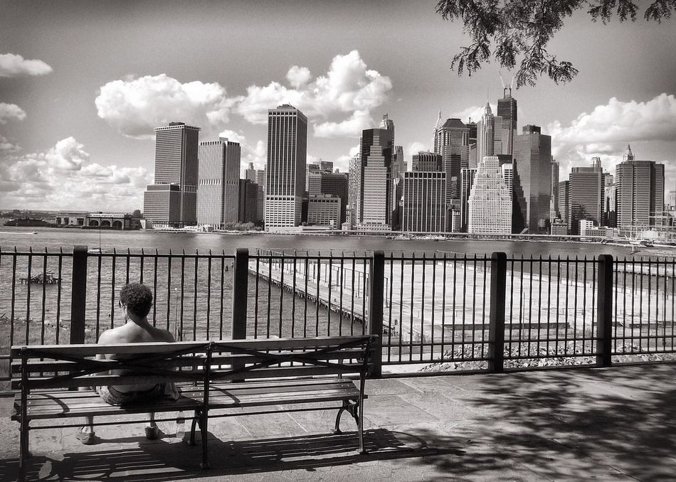 New York New York City Skyline Skyscraper Bench Sitting Man Sitting Man Streetphoto_bw Streetphotography People And Places Monochrome Photography My Year My View Long Goodbye