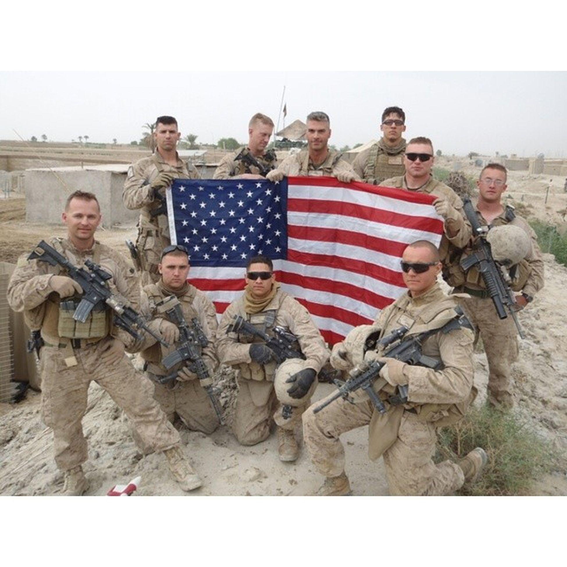 Posting up Merika in Afghanistan Helmand Infantry LashkarGah doc Corpsman FMF 1stMarineDivision downforafight gunfighters Americanflag ftw feelingpatriotic USMC Navy M4carbine