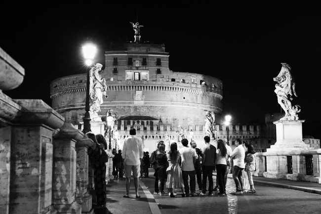Castel St. Angelo. Rome. Angel Architecture Black And White Blackandwhite Built Structure Canon Canon 5d Mark Iv Castel Eye4black&white  Eye4enchanting Famous Place Guide History Illuminated Memories Monochrome Monument Night Rome St. Angelo Tourism Tourist Vatican