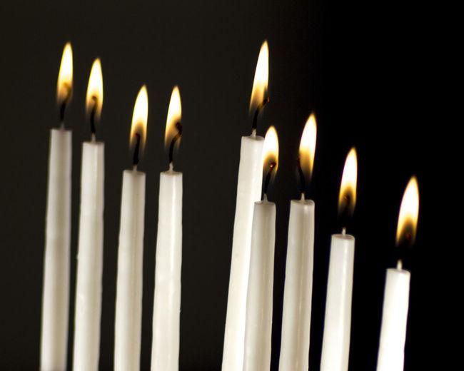 Black Background Burning Candle Candlelight Candles Chanukah Chanukkah Close-up Flame Flame Hannukah Hanukkah Holiday Illuminated Jewish No People Studio Shot