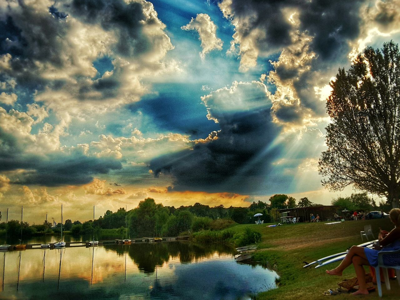 Evening Atmosphere Before Sunset Dramatic Sky Landscape Lake View Water Reflections Tranquility Lake Sunbeam Tree Sunlight Scenics Reflection Lens Flare Cloud - Sky Sky Nature Day Majestic Cloudscape Standing Water Outdoors Lake Kinzigsee Langenselbold Germany🇩🇪