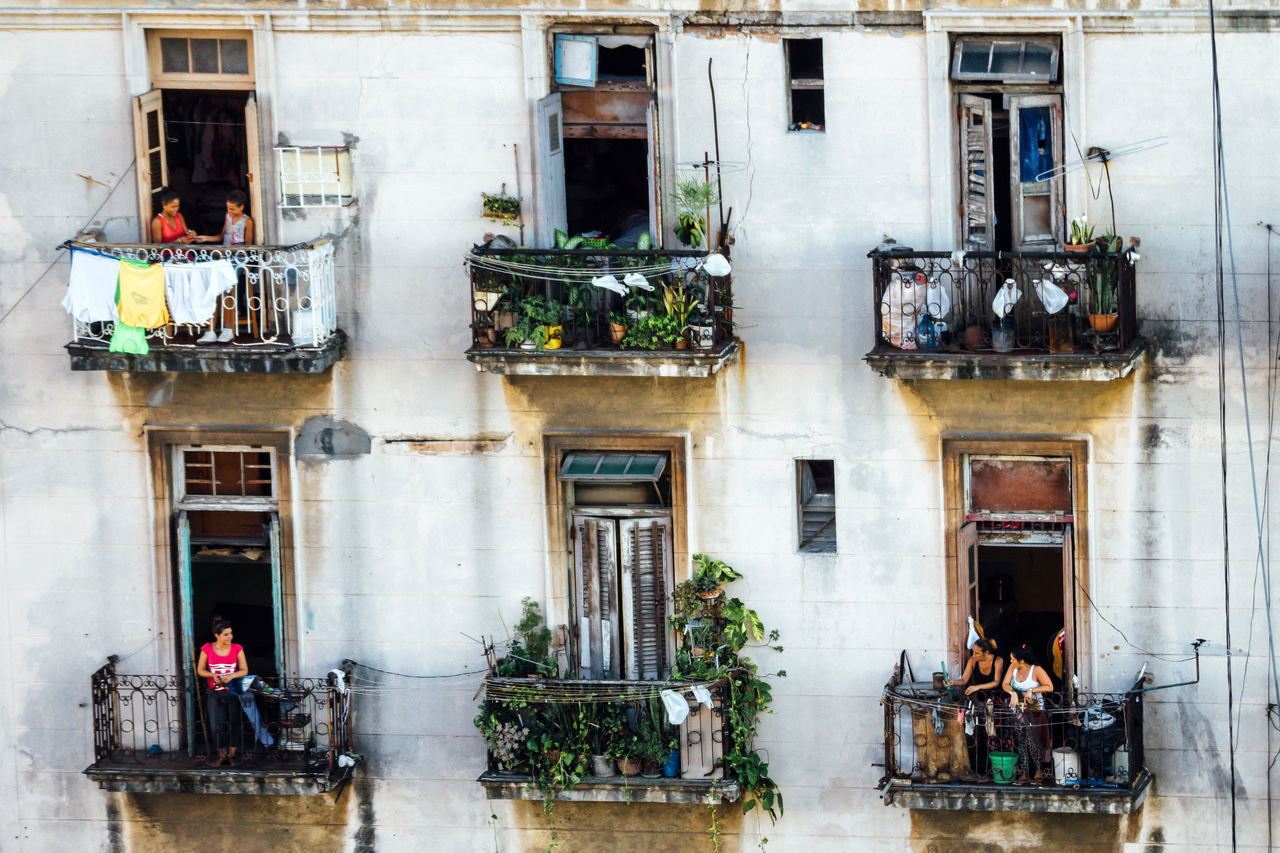 Architecture Balcony Building Exterior Built Structure Cuba Collection Cuban Day Neighborhood Old Buildings Old Havana Outdoors People Residential Building
