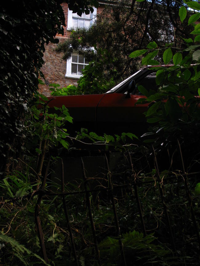 Abandoned Architecture British Broken Fence Built Structure Car Composition Compositions England Fence Hiding Lost In Nature Nature Old Car Peeking Plant Red Car Residential Building Residential Structure Secret Secret Places Suburban Tree Urban Vintage