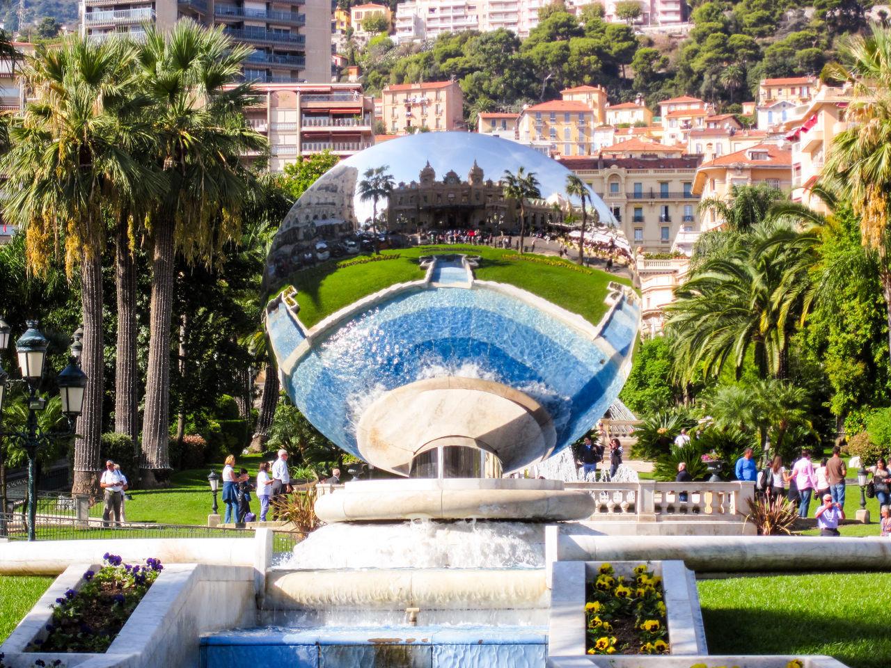 Casino Fountain Holiday Mirror Reflection Mirrow Monaco Palm Tree Refelction  Tourism Tourist Attraction  Tree