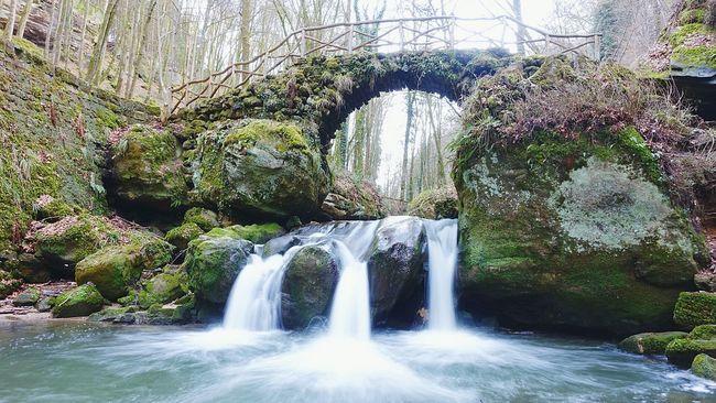 Wanderlust Travel Tranquility Waterfall Luxembourg Forest Schiessentümpel Müllerthal